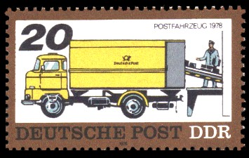 20 Pf Briefmarke: Posttransport früher und heute, Postfahrzeug 1978