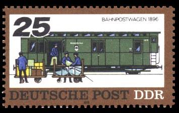 25 Pf Briefmarke: Posttransport früher und heute, Bahnpostwagen 1896