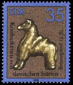 35 Pf Briefmarke: Kostbarkeiten von slawischen Stätten, Bronzepferd 12.Jh.