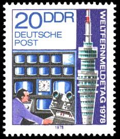 20 Pf Briefmarke: Weltfernmeldetag 1978, Fernsehturm Dresden