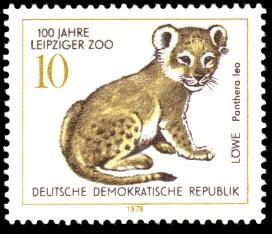 10 Pf Briefmarke: 100 Jahre Leipziger Zoo, Löwe