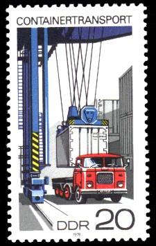 20 Pf Briefmarke: Containertransport, Transport auf der Straße