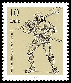 10 Pf Briefmarke: Zeichnungen aus dem Kupferstichkabinett, Landsknecht
