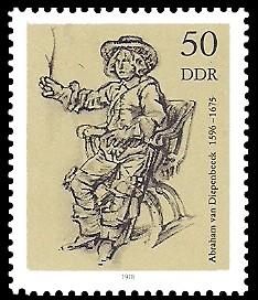 50 Pf Briefmarke: Zeichnungen aus dem Kupferstichkabinett, Mann im Lehnstuhl