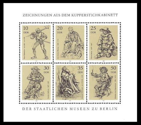 Briefmarke: Kleinbogen - Zeichnungen aus dem Kupferstichkabinett der Staatlichen Museen zu Berlin