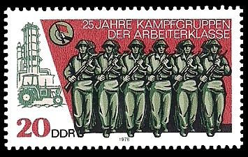20 Pf Briefmarke: 25 Jahre Kampfgruppen der Arbeiterklasse