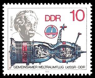 10 Pf Briefmarke: Gemeinsamer Weltraumflug UdSSR-DDR, A.Einstein, Sojus 31