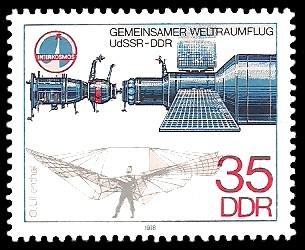 35 Pf Briefmarke: Gemeinsamer Weltraumflug UdSSR-DDR, O.Lilienthal, Sojus 31