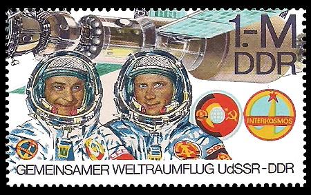 1M Briefmarke: Gemeinsamer Weltraumflug UdSSR-DDR, W.Bykowski u S.Jähn