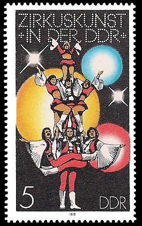 5 Pf Briefmarke: Zirkuskunst in der DDR, Artistenpyramide