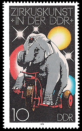 10 Pf Briefmarke: Zirkuskunst in der DDR, Elefant