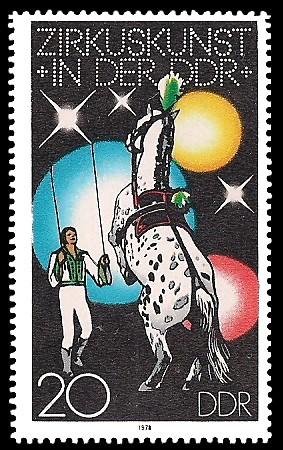 20 Pf Briefmarke: Zirkuskunst in der DDR, Pferd