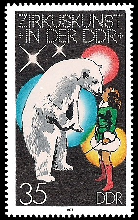 35 Pf Briefmarke: Zirkuskunst in der DDR, Eisbär