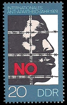 20 Pf Briefmarke: Internationales Anti-Apartheid-Jahr 1978