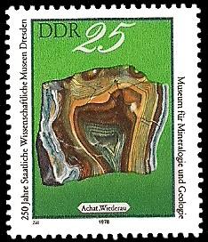 25 Pf Briefmarke: 250 Jahre Staatliche Wissenschaftliche Museen Dresden, Achat