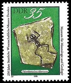 35 Pf Briefmarke: 250 Jahre Staatliche Wissenschaftliche Museen Dresden, Palaeobatrachus diluvianus