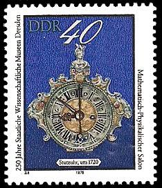 40 Pf Briefmarke: 250 Jahre Staatliche Wissenschaftliche Museen Dresden, Stutzuhr