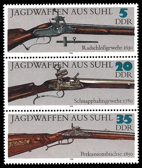 Briefmarke: Dreierstreifen A - Jagdwaffen aus Suhl (ältere Jagdwaffen)