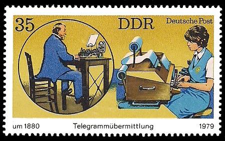 35 Pf Briefmarke: Telegrammübermittlung früher und heute