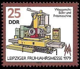 25 Pf Briefmarke: Leipziger Frühjahrsmesse 1979, Bohr- und Fräsmaschine