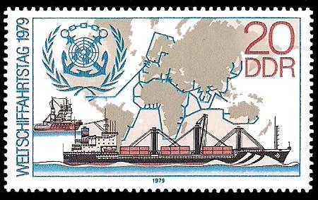 20 Pf Briefmarke: Weltschiffahrtstag 1979