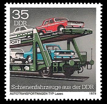 35 Pf Briefmarke: Schienenfahrzeuge aus der DDR, Autotransportwagen