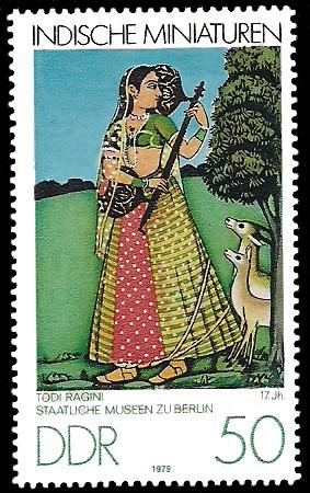 50 Pf Briefmarke: Indische Miniaturen, Todi Ragini