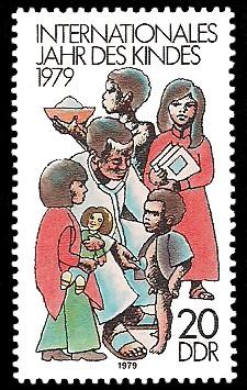 20 Pf Briefmarke: Internationales Jahr des Kindes 1979, Arzt untersucht Kinder
