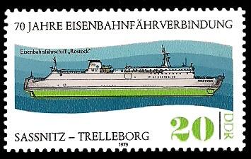 20 Pf Briefmarke: 70 Jahre Eisenbahnfährverbindung Sassnitz-Trelleborg, Fähre Rostock