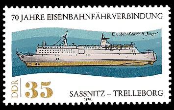 35 Pf Briefmarke: 70 Jahre Eisenbahnfährverbindung Sassnitz-Trelleborg, Fähre Rügen