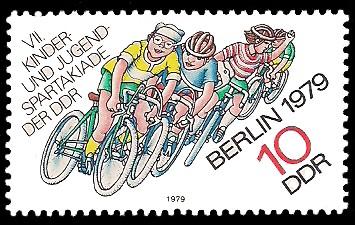 10 Pf Briefmarke: VII. Kinder- und Jugendspartakiade, Radrennen