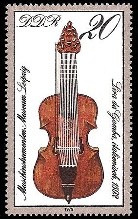 20 Pf Briefmarke: Musikinstrumenten-Museum Leipzig, Lira da Gamba