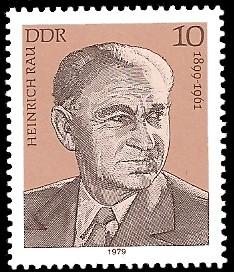 10 Pf Briefmarke: Verdienstvolle Persönlichkeiten der Arbeiterbewegung, Heinrich Rau
