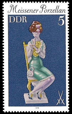 5 Pf Briefmarke: Meissener Porzellan, Mädchen