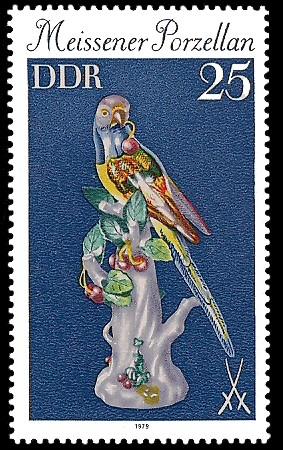 25 Pf Briefmarke: Meissener Porzellan, Papagei