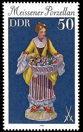 50 Pf Briefmarke: Meissener Porzellan, Blumenmädchen
