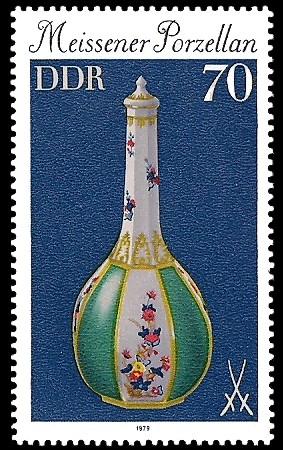 70 Pf Briefmarke: Meissener Porzellan, Sakeflasche
