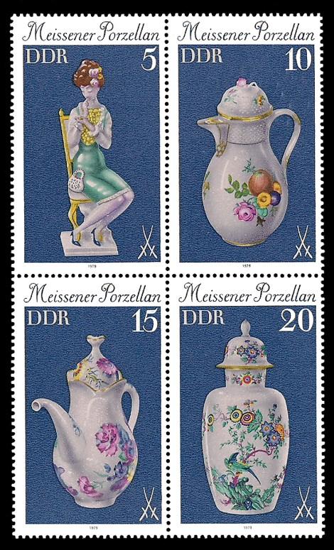 Briefmarke: Viererblock A - Meissener Porzellan