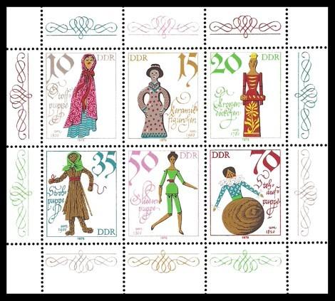 Briefmarke: Kleinbogen - Historische Puppen