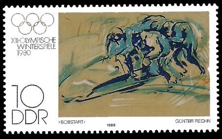 10 Pf Briefmarke: XIII. Olympische Winterspiele 1980, Vierer-Bob
