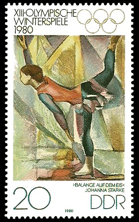 20 Pf Briefmarke: XIII. Olympische Winterspiele 1980, Eiskunstlauf