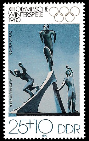25 + 10 Pf Briefmarke: XIII. Olympische Winterspiele 1980, Skisprung