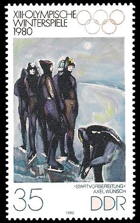 35 Pf Briefmarke: XIII. Olympische Winterspiele 1980, Eisschnelllauf