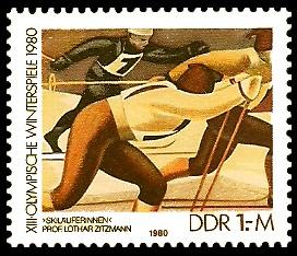 1 M Briefmarke: XIII. Olympische Winterspiele 1980, Skilanglauf