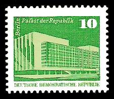 10 Pf Briefmarke: Sozialistischer Aufbau in der DDR, Palast der Republik