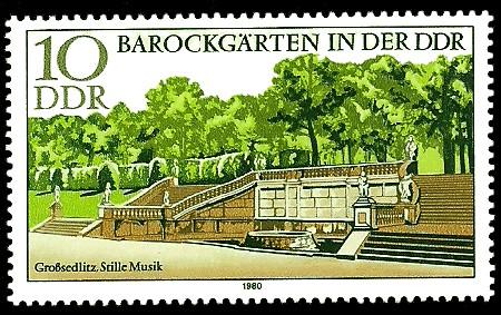 10 Pf Briefmarke: Barockgärten in der DDR, Großsedlitz