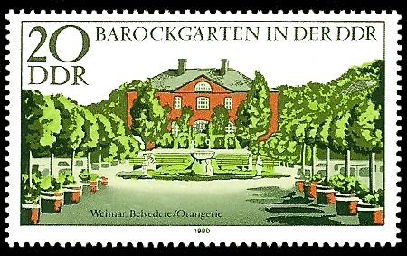 20 Pf Briefmarke: Barockgärten in der DDR, Weimar