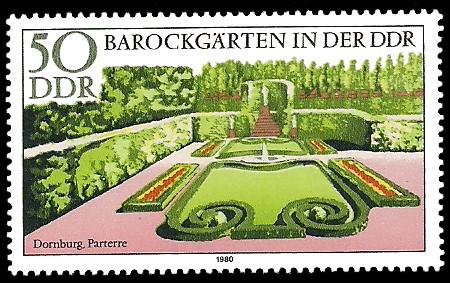 50 Pf Briefmarke: Barockgärten in der DDR, Dornburg