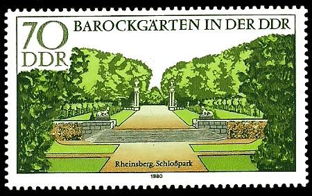 70 Pf Briefmarke: Barockgärten in der DDR, Rheinsberg