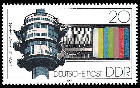 20 Pf Briefmarke: Arbeit der Deutschen Post, UKW u Fernsehen